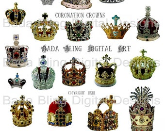 Coronation Crowns Of Europe... a digital collage sheet for atcs and altered art jewelry..INSTANT  Digital Download at Checkout
