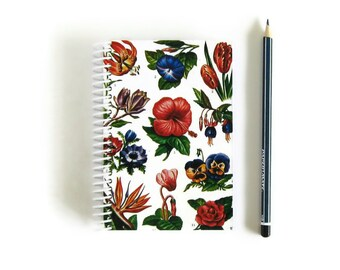 Awesome Flowers, Spiral Notebook, Blank Sketchbook, Writing Journal, Back to School, Garden Notebook, Flowers Notebook, A6 Notebook