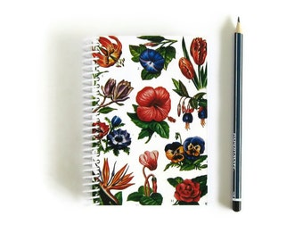 Awesome Garden Flowers Notebook, A6 Blank Writing Spiral Bound Journal, Back to School, Sketchbook, Pocket Paper Notebook, Gifts Under 15