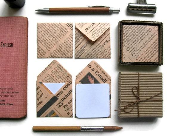 Salmon Pink Newspaper - Mini Stationery Set