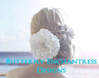Pale Ivory Hair Flower, Wedding Hair Accessory, Bridal Hair Clip - Starfire Rhinestone Peony Flower Clip