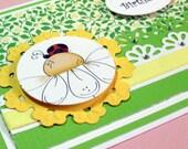 Birthday Card, Happy Birthday Card,Greeting Card, Handmade Card, Birthday Card with Ladybug, Ladybug Birthday Card