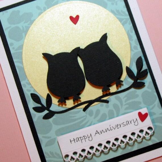 anniversary card owls silhouette handmade greeting card owls