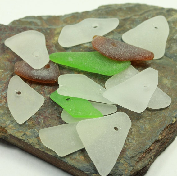 Drilled Sea Glass, 14 pcs for crafts
