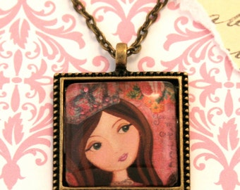 Princess Necklace-Pendant Art -Girls Jewelry- Girls Accesssories-Handmade Wearable Art Jewelry