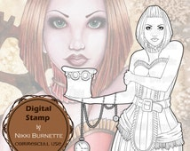Digital Stamp - Printable Coloring Page - Fantasy Art - Steampunk Victorian - Copper - by Nikki Burnette - COMMERCIAL USE