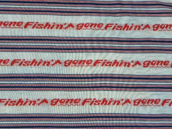 1960s Retro Gone Fishin Knit Tee Shirt  Fabric
