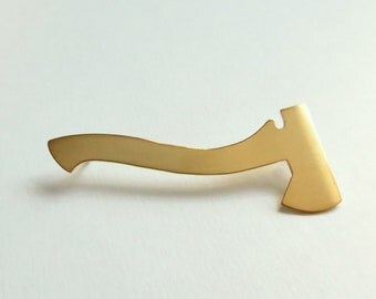 Silhouette Axe Brooch, 18K Gold Mens or Womens Lapel Pin.