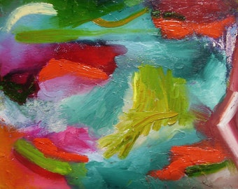 Abstract painting,  original fine art,  8 x 11 inches, small, colourist, bright red, teal, yellow green, magenta