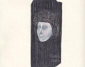 Porträt, Original Zeichnung, Kohle, Kreide conte