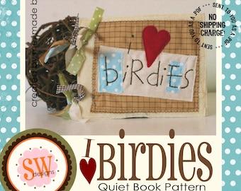 PATTERN for I Heart Birdies Quiet Book - digital .PDF download