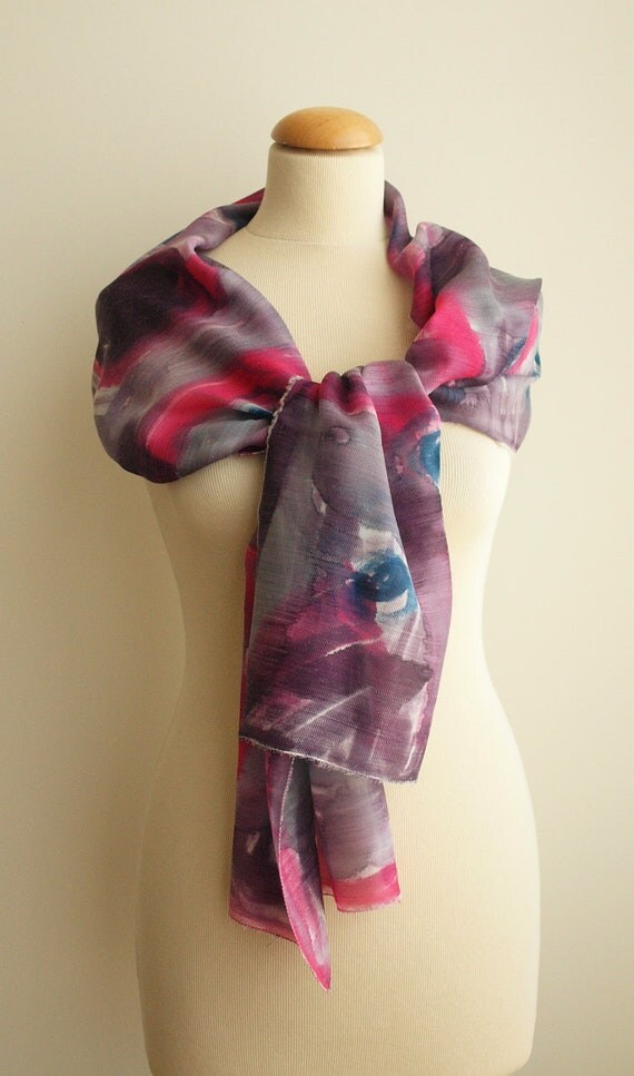 Hand painted Silk and Wool Scarf Purple-Pink-Blue-Fall's Colors