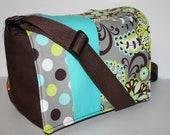 Diaper Bag / Nappy Tote / Purse / Baby Bag / Toddler Tote / MESSENGER Bag / More Pockets / Lime Grey Teal Paisley / Dots