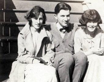 vintage photo Teenage Kids on the STeps of the house 1920