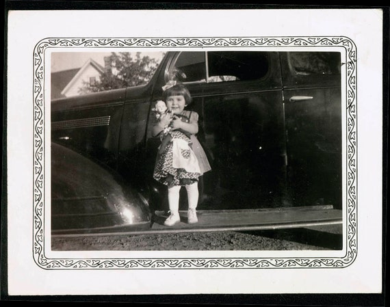 Vintage photo Little Girl with Folk art Black Doll and little doll