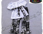 Girl Spooky Halloween Outfit - Girl Top Ruffle Pant Outfit Set - Trick or Treat Outfit 3 6 9 12 18 24 month size 2T 2 3T 3 4T 4 5T 5 6 7 8