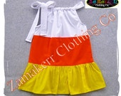 Custom Boutique Clothing Girl Candy Corn Pillowcase Dress Halloween Trick or Treat Gift Pageant 3 6 9 12 18 24 month size 2T 3T 4T 5T 6 7 8
