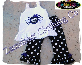 Custom Boutique Clothing Cute Girl Spider Halloween Costume Gift Pageant Top Pant Outfit Set 3 6 9 12 18 24 month size 2T 3T 4T 5T 6 7 8