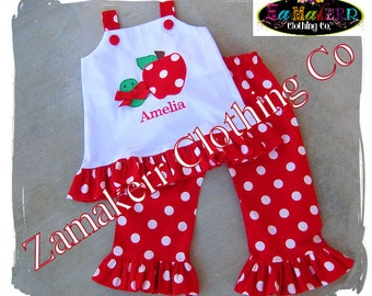 Girl Back To School Jumper Top Red Polka Ruffle Pant Outfit Set 3 6 9 12 18 24 month size 2T  3T 4T 5T 6 7 8