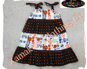 HALLOWEEN Girl Dress - Halloween Tiered Ruffle Dress - Orange Black Dot Halloween Dress 3 6 9 12 18 24 month size 2T 2 3T 3 4T 4 5T 5 6 7 8