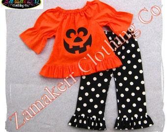 Custom Boutique Clothing Toddler Girl Pumpkin Face Halloween Outfit Orange Pant Set Jackolantern 3 6 9 12 18 24 month size 2T 3T 4T 5T 6 7 8