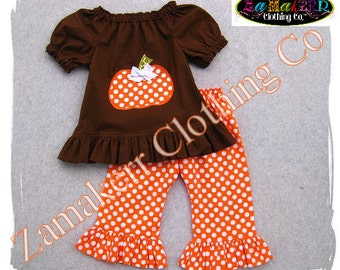 Girl Pumpkin Outfit Fall Thanksgiving Turkey Toddler Pant Set Custom Boutique Clothing 3 6 9 12 18 24 m month size 2T 2 3T 4T 4 5T 5 6 7 8