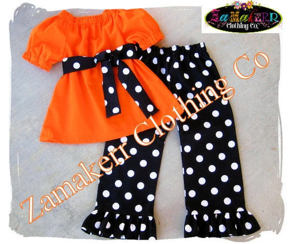 Custom Boutique Clothing Girl Halloween Outfit Toddler Infant Baby Black Orange Pant Set Pageant 3 6 9 12 18 24 month size 2T 3T 4T 5T 6 7 8