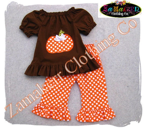 Items similar to Girl Pumpkin Outfit Fall Thanksgiving ...