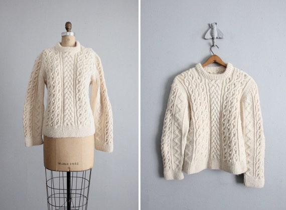 1960s vintage natural wool fisherman sweater