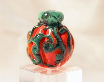 pumpkin bead, miniature glass pumpkin, lampwork pumpkin bead, sra lampwork, orange glass, artisan bead