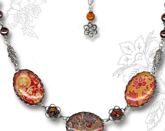 BoHo Chic Orange  and Grey Paisley Glass Necklace - Trioz Botanicalz Collection by Tzaddishop - Cinnabar
