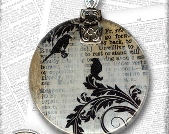 Black Bird Glass Art Necklace from Upcycled Dictionary page book art - WilD WorDz - Eloquence 1