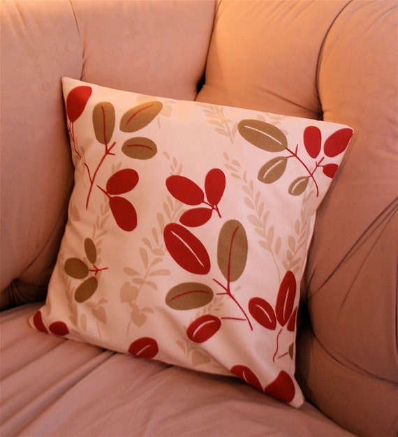 SALE Red and Taupe Leaves Pillow Cover