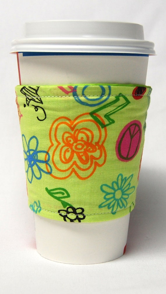 Coffee Cozy, Cup Sleeve, Eco Friendly, Slip-on: Flowers, Hearts, Lips and BFF on Light Green