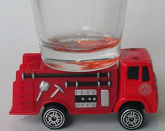 the ORIGINAL Hot Shots Shot Glass, Red Fire Truck, Engine