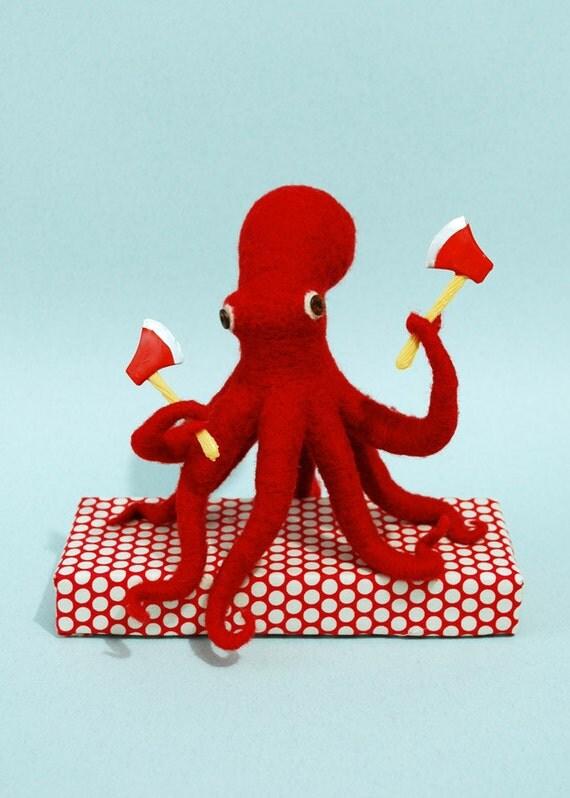 OOAK - Ax Wielding Octopus (red)
