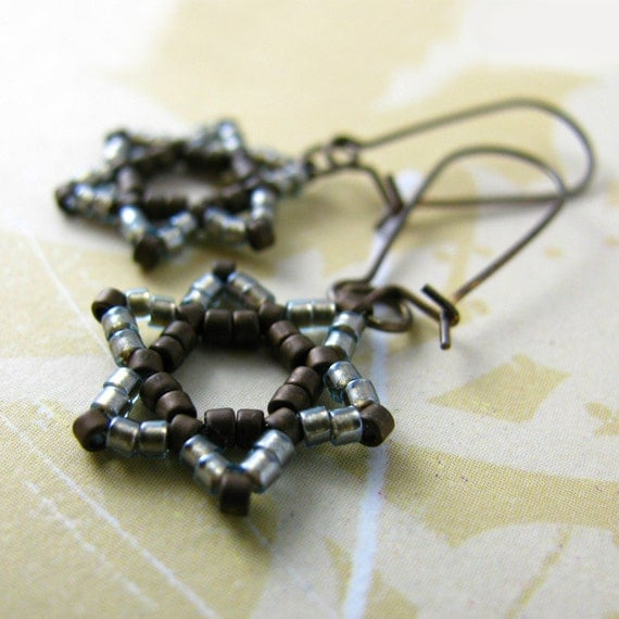 EREV silver grey star of david earrings, beaded judaica magen david, brown beads and solid brass earwires