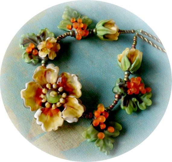 BACK TO PROVENCE HelensHarvest Lampwork Matte Glass Floral Bead Set Handmade Beaded Necklace