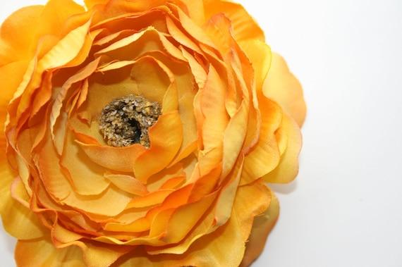 Yellow Silk Flower - Dry Look Ruffle Ranunculus in Yellow - 4 inches