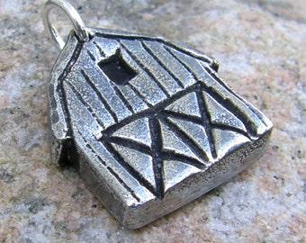 Barn Pendant, Barn Charm, Stable Pendant, Rustic Horse Lover Jewelry