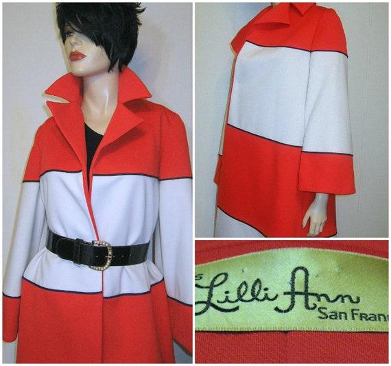 Vintage 60's Lilli Ann Mod Swing Coat, Mad Men Style Sz M