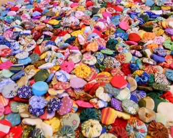 Wedding Flowers Fabric Flowers YoYo Appliques Rainbow Birthday Party Rosettes Bead Hair Clip Shower Bow Scrapbook Wholesale Handmade 1/2 Off