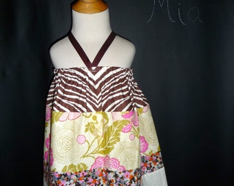 SAMPLE - Halter dress or top - Will fit Size 3T month up to 7 yr - by Boutique Mia - Ready To Ship