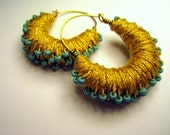 Cleopatra Gold Mini Thread Wrapped Hoop Earrings with Turquoise Beads