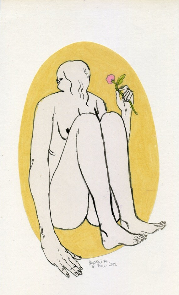 Sits with a Flower (original drawing, 2012)