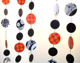Halloween Orange, Black and White Paper Garland Party Decor OOAK 6 ft.