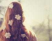 Flowers in her hair - approx 18x13cm/5x7in glossy fine art photo print - redhead, back, hair, long hair, fpoe