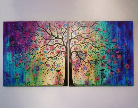 Commission made to order  large original oil painting Abstract  Folk art Tree ,blue , violet & birds  48- free ship by Vadal