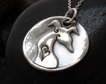 Greyhound Pendant - Greyhound Jewelry - Simply Love - Fine Silver