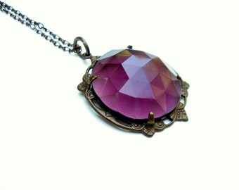Purple Rhinestone Necklace, Ren Faire